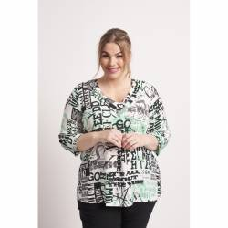 Chalou Plus Size Damenbluse mit modernem Druck, multicolor Bettina Styling